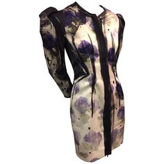 Lanvin Runway Silk Hand-Painted Ombré Floral Dress Jacket w Shoulder Pleats  | From a collection of rare vintage jackets at https://www.1stdibs.com/fashion/clothing/jackets/