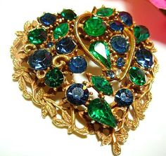 Coro Brooch Pin Signed Green Blue Rhinestone Heart Design Layered Gold Leaf…