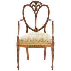 Early 19th Century Hepplewhite Painted Satinwood Armchair