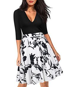 New ZAFUL Women's Elegant Floral V Neck Dress Vintage Half Sleeve A Line Casual Work Party Flared Swing Dress online. Find the  great BEAGIMEG Dresses from top store. Sku hlci98167alhu69783