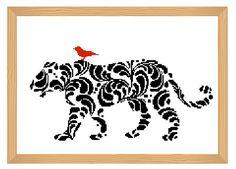 Tiger cross stitch pattern silhouette cross by ILoveMyDesigns