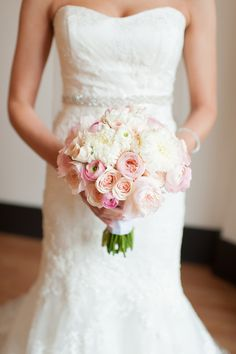 ivory and pink bouquet of dahlias, roses and ranunculus by Flora D'Amore