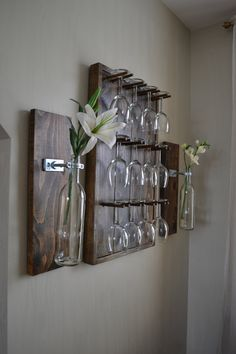Elegantly Rustic Espresso Finish Wine Glass Rack Ensemble with 12 Glasses and 2 Sconce Style Wine Bottle Vases/Holders