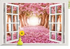 Dnven 24w X 35h 3d Romantic Dreaming Sakura Pink Cherry Blossom Trees in Forests Creative 3d Window View Removable PVC Wall Sticker Home Decor Bedroom Stickers Wall Paper Decals for Kids Room Nursery Bedrooms >>> Click image for more details.
