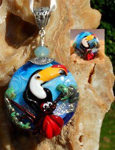 Testy Toucan original custom handmade lampwork parrot by LandSArts, $165.00