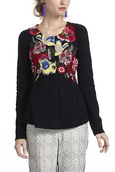Techniflora Embroidered Cardi #anthropologie ...i could do this even better :-P