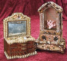 Two French Candy Container Boxes with Seashell Art.