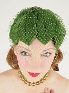 50s Olive Green Velvet Petal Cocktail Hat with Veil