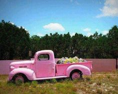 something about vintage pink pickups. ya think that runs, or is it just a planter. either way it's a sweet ride/planter. Farm Trucks, Old Trucks, Pickup Trucks, Chevy Trucks, Chevy Pickups, Luxury Sports Cars, Pink Love, Pretty In Pink, Pale Pink