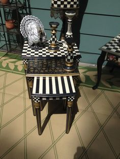 Whimsical French Country Black and White Check by EddiesGarden, $400.00