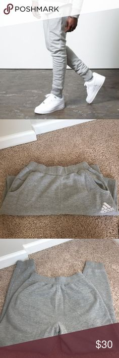 ADIDAS Unisex Skinny sweatpants Grey ADIDAS Skinny Sweats. Worn 1-2 times, excellent condition. No holes or tears. I believe these are unisex, however they do run a little small. adidas Pants Track Pants & Joggers