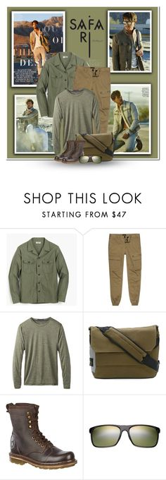 """Let's Go To The Jungle"" by marion-fashionista-diva-miller ❤ liked on Polyvore featuring ADAM, J.Crew, River Island, prAna, STONE ISLAND, Dr. Martens, Maui Jim, men's fashion, menswear and safari"