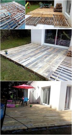 Incredible Wood Pallet Ideas and Projects DIY Holzpaletten Terrasse Terrasse Pallet Patio Decks, Backyard Patio Designs, Diy Patio, Backyard Landscaping, Pallet Porch, Outdoor Pallet, Wood Patio, Pergola Patio, Palet Deck