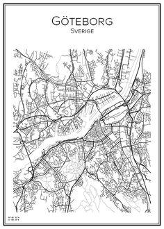 Handritad affisch över Göteborg i Västra Götalands län. Här kan du beställa stadskarta över din stad och andra svenska samt utländska städer.