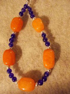 Sterling silver, blue adventurine, dyed orange quartzite,  Swarovski crystal beaded bracelet on Etsy, $36.50