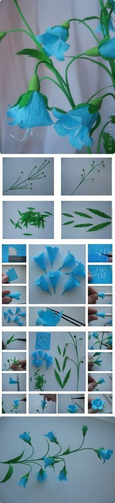 DIY Bluebell Flower. Although crepe paper, this has given me a few ideas.