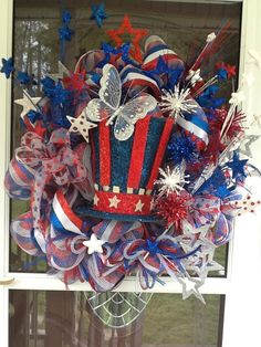 Light Up Deco Mesh 4th of July Wreath by WreathsEtc on Etsy, $155.00