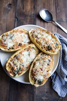 Twice-Baked Spaghetti Squash   28 Delicious Things To Cook In February - could do a vegetarian version