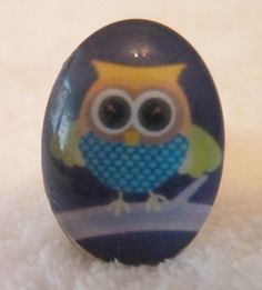 Adjustable ring plated rings Owl domed glass effect ring Size L / XL  Large cabochon simple setting so nothing detracts from the ring £1.99 Available for sale at etsy.com/uk/shop/tottietootles