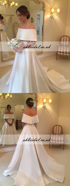 Satin Off Shoulder Wedding Dress, A-Line Simple Design Wedding Dress, KX178 #okbridal #weddingdresses
