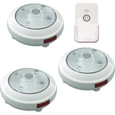 Rite Lite 5-LED Puck Light with Remote, 3-Pack, White