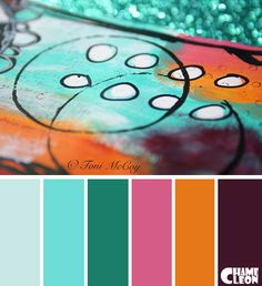 Color Palette, drawing, azure, ginger, dark purple.