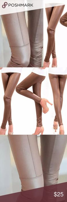 🆕List! Faux Leather Leggings! NEW! OSFM plus size! Available now in light mocha. Brown and black coming soon! NWOT only worn to model. Model is a size large 65 inches tall. Will fit size M/L to 1X. Boutique Pants Leggings