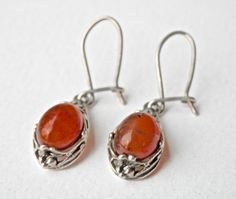 Amber Earrings Vintage Sterling Silver Vintage by TheJewelryChain