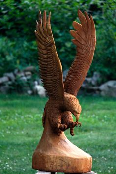 Pretty amazing chainsaw wood carving - any wildlife or bird lover will appreciate this super carved eagle.