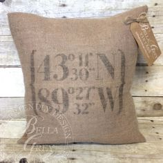 Burlap Pillow Cover features the longitude and latitude of your choice. Perfect as a graduation or housewarming gift. Select from your choice of pillow size and burlap color. Need help finding your coordinates? Just visit this site and enter your address: http://www.latlong.net/ Please