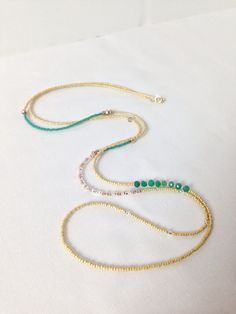 Long seed bead and green onyx necklace by GummyRuby on Etsy, $ 28.00