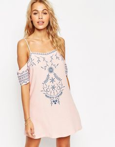 Image 1 of ASOS Mono Folk Embroidered Cold Shoulder Beach Dress