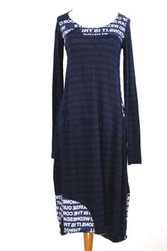 Rundholz Black Label printed, stretch cotton dress with rolled edged hems in blueberry print colour.