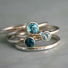 Stacking Rings Topaz & Aquamarine, Sterling Silver, Ocean Blue, Stackable Ring Band, Stack Ring, Statement Rings. $118.00, via Etsy.