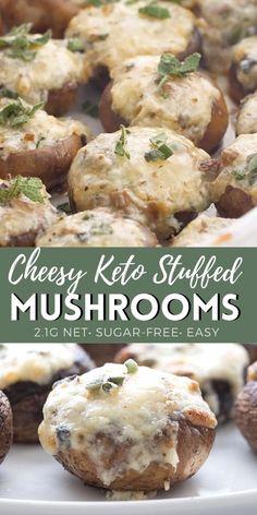 Keto Mushrooms, Healthy Recipes With Mushrooms, Stuffed Mushroom Recipes, Stuff Mushrooms, Low Carb Stuffed Mushrooms, Mushroom Meals, Mushroom Appetizers, Appetizer Recipes, Appetizer Party