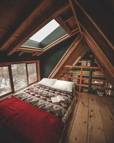 49 Stylish Loft Bedroom Design Ideas is part of A frame house - Do you want to extend the living capacity of your home, then why not convert your loft space into a […] Future House, Ravens Home, A Frame House, Bedroom Loft, A Frame Bedroom, Attic Bedrooms, Loft Room, Cabin Bedrooms, Skylight Bedroom