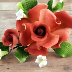 Burnt Orange Gumpaste Rose Sprays | CaljavaOnline