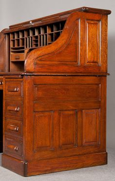 This is very similar to the roll top desk that my grandparents had in their home when I was growing up. I am hoping someday I will be lucky enough to have it in my home. Shaker Furniture, Cabinet Furniture, Wood Furniture, Woodworking Furniture, Fine Woodworking, Barrister Bookcase, Contemporary Desk, Old Desks, Antique Desk