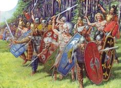 Some fought naked. Celtic  warriors  in  an  impressive  artwork.  Note  the  two  naked  Gaesati/Gaesatae  warriors  in  the  frontline,  with  their  hair  stiffened  with  lime  or  lemon  juice.  Another  warrior  blows  the  'carnyx',  the  Celtic  war  trumpet  (Copyright:  Zvezda  /Karatchuk  (artist)).