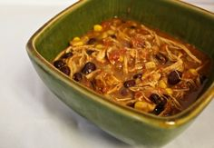 Southwestern Style Tortilla Soup - Low fat, filled with healthy stuff, and SUPER simple to make in the Crock Pot.