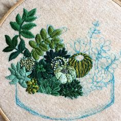 CREAMENTE Filling the pot with new cactus and succulents 🌵🌳🌱 Cactus Embroidery, Embroidery Hoop Art, Embroidery Applique, Cross Stitch Embroidery, Embroidery Patterns, Embroidered Cactus, Bordados E Cia, Contemporary Embroidery, Fabric Art