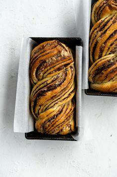 Dark Chocolate, Tahini, and Halva Brioche Babka. Fluffy brioche dough is spread with a dark chocolate tahini filling and sprinkled with halva, then rolled up […] Tahini, Halva Recipe, Cake Recipes, Dessert Recipes, Bread Recipes, Sweet Recipes, Dessert Bread, Baking Recipes, Chocolate Brownie Cake