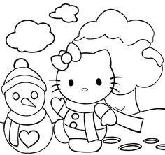 Hello Kitty On Snow Christmas Holiday Coloring Page
