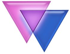 """The blue and pink overlapping triangle symbol represents bisexuality and bi pride. The exact origin of this symbol, sometimes facetiously referred to as the """"biangles"""", remains ambiguous. It's possible that the pink may represent attraction to females, the blue attraction to males, and lavender attraction to both."""