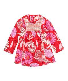 Red & Pink Floral A-Line Dress - Infant #zulily #zulilyfinds