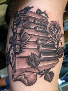 Piano Tattoos, Designs And Ideas : Page 4 Key Tattoos, Music Tattoos, Piano Tattoos, Tatoos, Music Tattoo Sleeves, Sleeve Tattoos, Epic Tattoo, Arm Tattoo, Das Piano