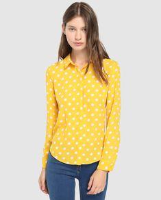 455e9eb245 Camisa de mulher Easy Wear às bolinhas com manga comprida · Moda e  Acessórios · El