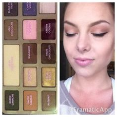 """Too Faced Chocolate Bar Pallet. I used """"Salted Carmel"""" to blend, """"Semi-sweet"""" in my crease, and """"Marzipan"""" on my lid! Pretty eyeshadow combo, easy makeup look, neutrals, fair skinned makeup"""
