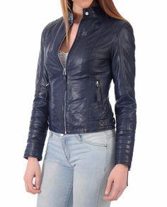 Leather Jacket For Women's New Style Genuine Soft Ship Skin Leather #209 #NationalLeather #BasicJacket