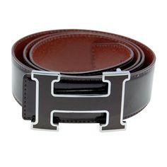 Designer Hermes H Letter Brown Buckle Mens Belt